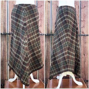 Lauren Ralph Lauren Plaid Wool Skirt Modest Maxi